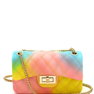 YXSF0015 Rainbow Matte Jelly Small 2 Way Shoulder Bag Multi-2