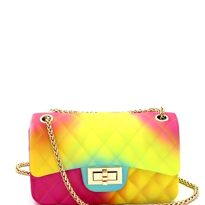 YXSF0015 Rainbow Matte Jelly Small 2 Way Shoulder Bag Multi-1