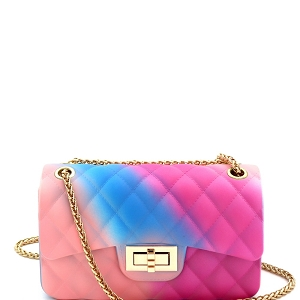 YXSF0015 Rainbow Matte Jelly Small 2 Way Shoulder Bag Multi-4