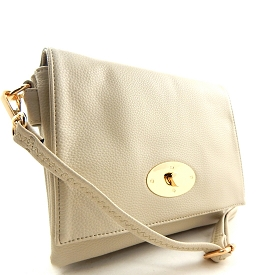 80889 Double Compartment Turn-lock Large Messenger Cross Body Off-white (Bone)