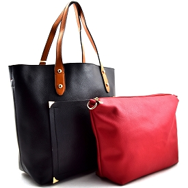 81056 Front Pocket 2 in 1 2 Tone Tote Black/Brown