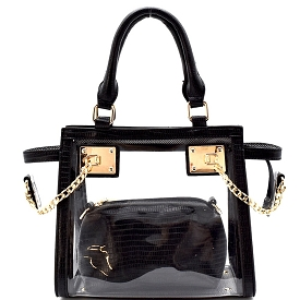 81472 Chained Hardware Accent Clear 2 in 1 Wing Satchel Black