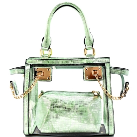 81472 Chained Hardware Accent Transparent Clear 2 in 1 Wing Satchel Mint