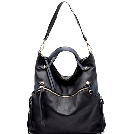 87215 Zipper Accent Two-Tone Slouchy 2 Way Hobo Black/Navy