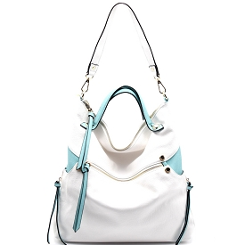 87215 Zipper Accent Two-Tone Slouchy 2 Way Hobo White/Mint
