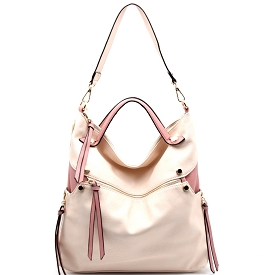 87215 Zipper Accent Two-Tone Slouchy 2 Way Hobo Blush/Mauve