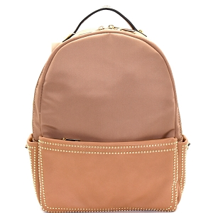 87286 Stud Accent Mixed Material Fashion Backpack Taupe
