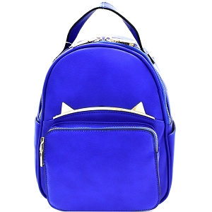 87408 Unique Cat Ear Hardware Accent Fashion Backpack D.Blue