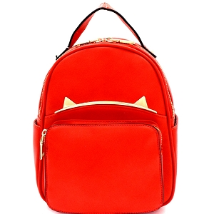 87408 Unique Cat Ear Hardware Accent Fashion Backpack Red