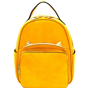 87408 Unique Cat Ear Hardware Accent Fashion Backpack Mustard