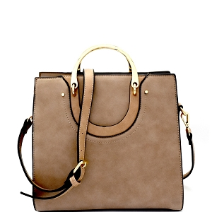 87452 Metal Handle Accent Structured Satchel Taupe