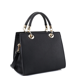 87536 Saffiano Classy Structured 2-Way Medium Satchel Black