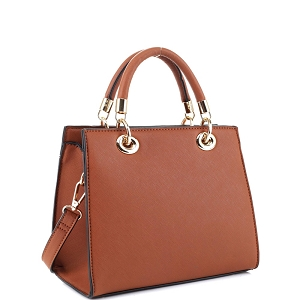 87536 Saffiano Classy Structured 2-Way Medium Satchel Brown
