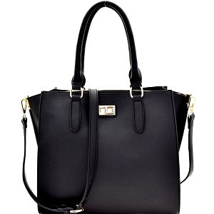 87837 Turn-Lock Accent 3-Compartment Wing Satchel Black