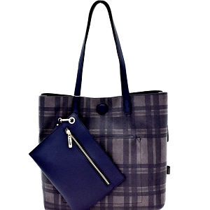 87842 Plaid Checker Print Reversible 2 in 1 Tote Navy