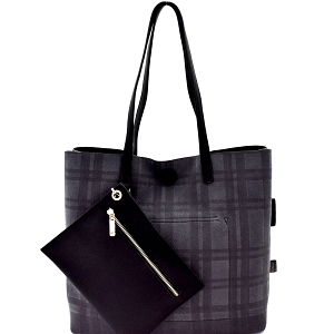 87842 Plaid Checker Print Reversible 2 in 1 Tote Black