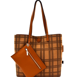 87842 Plaid Checker Print Reversible 2 in 1 Tote Brown