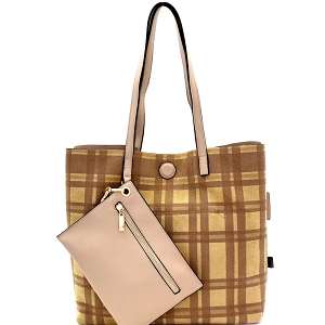 87842 Plaid Checker Print Reversible 2 in 1 Tote Sand