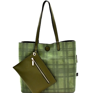 87842 Plaid Checker Print Reversible 2 in 1 Tote Olive