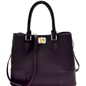 87873 Bamboo Turn-Lock Structured 2-Way Satchel Black