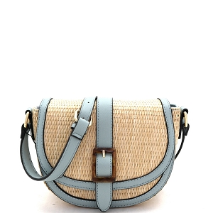 93128 Woven Straw Mixed-Material Buckle Saddle Shoulder Bag Natural/Blue
