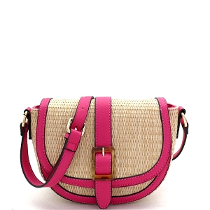 93128 Woven Straw Mixed-Material Buckle Saddle Shoulder Bag Natural/Fuchsia