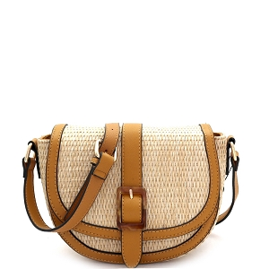 93128 Woven Straw Mixed-Material Buckle Saddle Shoulder Bag Natural/Tan