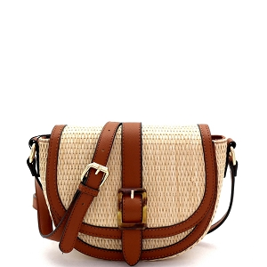 93128 Woven Straw Mixed-Material Buckle Saddle Shoulder Bag Natural/Brown