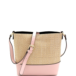 93129 Woven Straw Mixed-Material 3-Compartment Bucket Shoulder Bag Blush