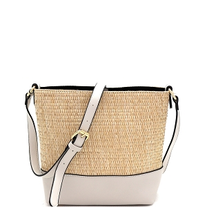 93129 Woven Straw Mixed-Material 3-Compartment Bucket Shoulder Bag Light-Gray