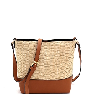 93129 Woven Straw Mixed-Material 3-Compartment Bucket Shoulder Bag Brown