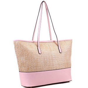 93130 Woven Straw Mixed-Material Large Shopper Tote Blush