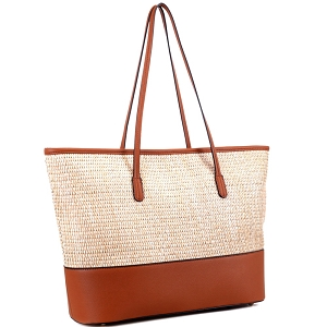 93130 Woven Straw Mixed-Material Large Shopper Tote Brown