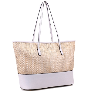 93130 Woven Straw Mixed-Material Large Shopper Tote Light-Gray