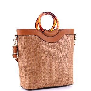 AS19718 Resin Handle Accent Bamboo Straw 2-Way Satchel Brown/Brown