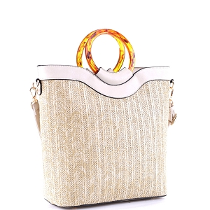 AS19718 Resin Handle Accent Bamboo Straw 2-Way Satchel Natural/Beige