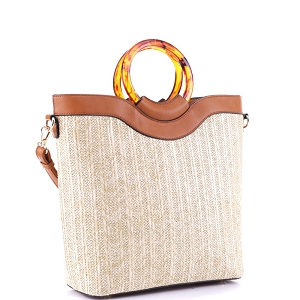AS19718 Resin Handle Accent Bamboo Straw 2-Way Satchel Natural/Brown