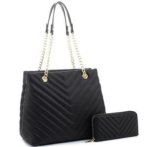 CV20145 Chevron Quilted Chain Shopper Tote Wallet SET Black