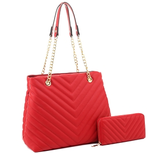 CV20145 Chevron Quilted Chain Shopper Tote Wallet SET Red