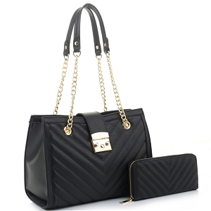 CV20146 Chevron Quilted Chain Shopper Hardware Tote Wallet SET Black