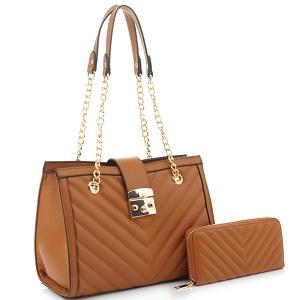 CV20146 Chevron Quilted Chain Shopper Hardware Tote Wallet SET Light-Brown