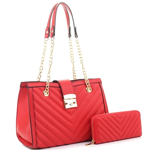 CV20146 Chevron Quilted Chain Shopper Hardware Tote Wallet SET Red