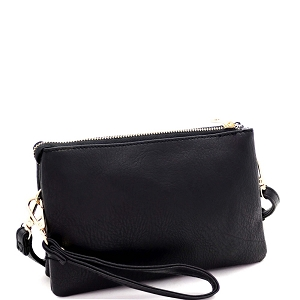 FC19100 Versatile 5-Compartment Wristlet Cross Body Black
