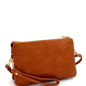FC19100 Versatile 5-Compartment Wristlet Cross Body Brown