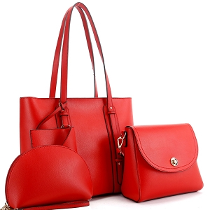 FC19207 Classy 4 in 1 Large Shopper Tote SET Red
