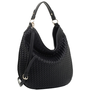 FC19218 Woven Front Single Strap 2-Way Hobo Black