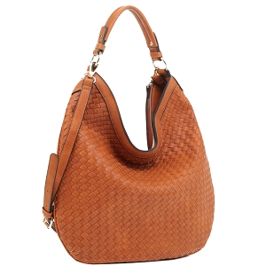 FC19218 Woven Front Single Strap 2-Way Hobo Brown