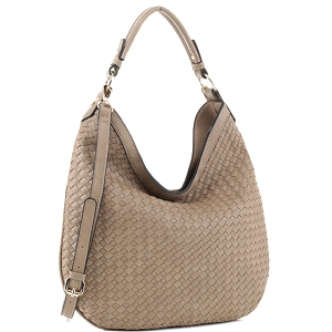 FC19218 Woven Front Single Strap 2-Way Hobo Taupe