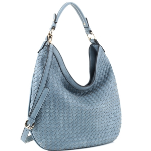 FC19218 Woven Front Single Strap 2-Way Hobo Vintage-Blue