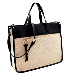 FC19484 Linen Two-Tone Structured 2-Way Tote Beige/Black